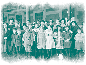 Immigrant children on Ellis Island.
