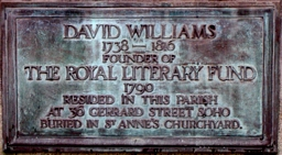Plaque commemorating David Williams, founder of the RLF.